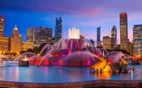 Picture the sky, design, lights, building, home, the evening, backlight, Chicago, fountain, USA, skyscrapers, Buckingham Fountain