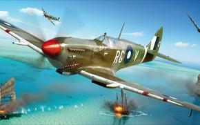 Picture Spitfire, Supermarine, Mk.VIII, British fighter of world war II