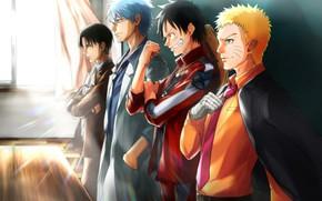 Picture guys, Naruto, Naruto, One Piece, crossover, Gintama, Naruto Uzumaki, Shingeki No Kyojin, Monkey D. Luffy, …