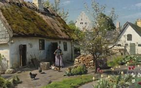 Picture Danish painter, 1924, Peter Merk Of Menstad, Peder Mørk Mønsted, Danish realist painter, Spring in …