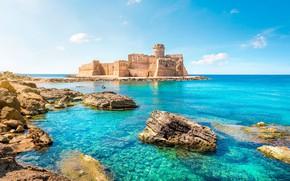 Picture sea, Italy, landscape river, castle, sky blue, Calabria, Crotone, Isola di Capo Rizzuto, Le Castella