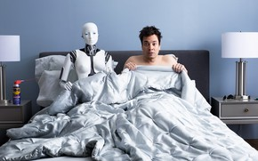 Picture bed, robot, the situation, humor, male, bedroom, nightmare