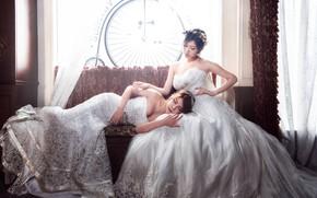 Wallpaper light, girls, room, sofa, stay, two, sleep, interior, window, lies, white, curtains, sitting, Duo, Asian ...