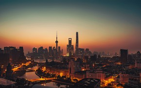Wallpaper city, lights, China, Shanghai, twilight, river, sky, sea, sunset, water, night, evening, bridges, buildings, architecture, ...