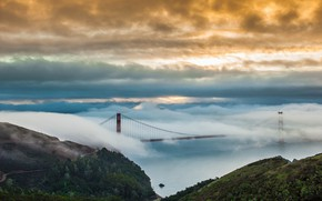 Picture the sky, water, clouds, bridge, fog, Golden gate, forest, San Francisco, San Francisco