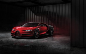 Picture Red, Black, Machine, Bugatti, Background, Drives, Sport, Garage, Wheel, Chiron