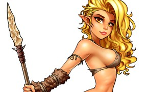 Picture chest, look, elf, art, blonde, beauty, spear