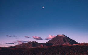 Picture landscape, mountains, the moon, the volcano, hills