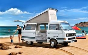 Picture Beach, Girl, Stones, Child, Volkswagen T3, Camper