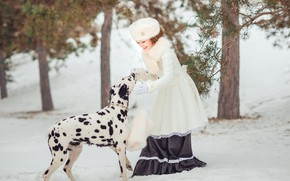 Picture winter, forest, look, snow, branches, nature, pose, smile, Park, hat, dog, girl, the snow, white, …