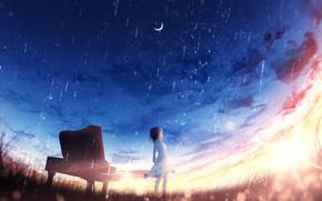 Picture the sky, sunset, rain, fantasy, girl, piano, Crescent