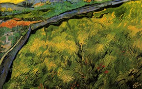 Picture Wheat at Sunrise, the sun, road, Vincent van Gogh, Field of Spring