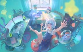 Picture computer, girl, room, toys, sharks, Virtual Youtuber, Gawr Gura, CatShark Gura