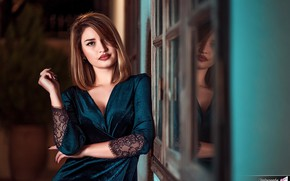 Picture look, pose, wall, model, portrait, makeup, dress, hairstyle, brown hair, bokeh