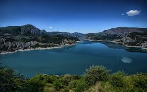 Picture mountains, lake, France, Alps, Le Sauze-du-Lac