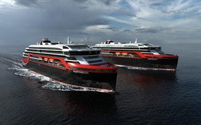 Picture The ocean, Sea, Liner, The ship, Rendering, Passenger ship, Cruise Ship, Passenger Ship, Cruise Line, ...