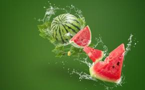 Picture water, squirt, green, background, splash, watermelon, slices