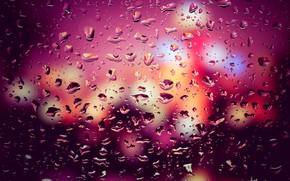 Picture glass, water, drops, lights, lights, rain, rain, night, bokeh, window, drops, purple