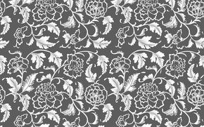 Picture flowers, retro, grey, background, pattern, vintage
