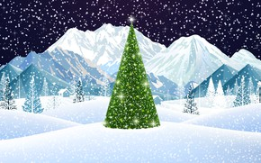 Picture Winter, Mountains, Snow, Christmas, Snowflakes, Background, New year, Holiday, Christmas, Art, Mood, Tree, Snow, New ...