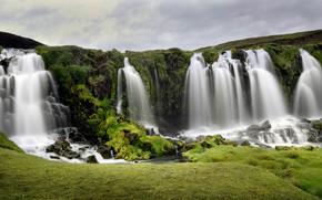 Picture greens, the sky, stones, rocks, vegetation, waterfall, stream, waterfalls