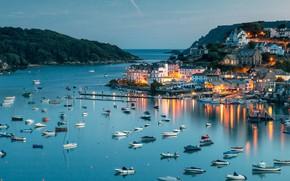 Picture sea, England, Devon, the harbour of Salcombe
