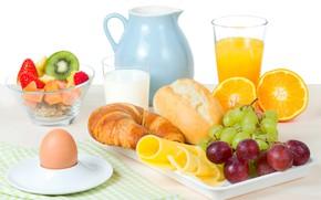 Picture orange, Breakfast, cheese, kiwi, milk, strawberry, juice, grapes, fruit, cakes, buns