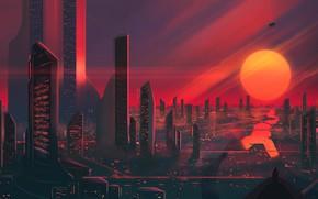 Picture Sunset, The sun, The evening, The city, Star, Skyscrapers, Building, City, Art, Fiction, Josef Bartoň, …