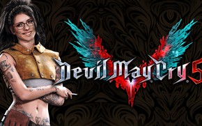 Picture girl, smile, the game, glasses, cigarette, character, Devil May Cry, Devil May Cry 5