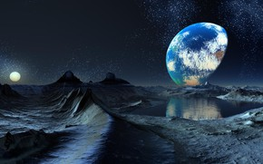 Picture Laguna, Planet, Constellation, The sky, Terminator: the Boundary of Day and Night