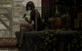 Picture cat, girl, animal, art, bird, GUWEIZ