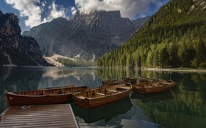 Picture forest, mountains, lake, Marina, boats, Italy, Italy, The Dolomites, South Tyrol, South Tyrol, Dolomites, Lake …
