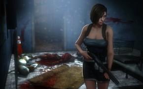 Picture chest, girl, rendering, shotgun, capcom, jill valentine, nemesis, resident evil 3