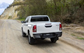 Picture white, trees, Toyota, roadside, pickup, Hilux, Special Edition, 2019