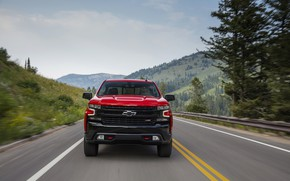Picture red, Chevrolet, front view, pickup, Silverado, Z71, Trail Boss, 2019, Silverado LT
