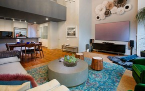 Picture interior, kitchen, living room, dining room, Garment District Triplex, by YDC design