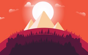 Picture Sunset, The sun, Minimalism, Trees, Forest, Pyramid, Pyramid, Landscape, Concept Art, Environments, Naughty Natesan, Circle ...