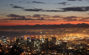 Picture city, lights, twilight, sky, sea, mountains, clouds, sunrise, South Africa, buildings, skyscrapers, ships, bay, harbor, …