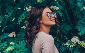 Picture leaves, Girl, glasses, Dmitry Khokhlov