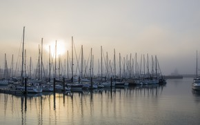 Picture fog, boats, port