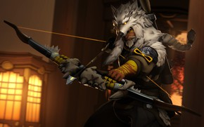 Picture wolf, bow, costume, arrows, Archer, Overwatch, hanzo, Hanzo Shimada