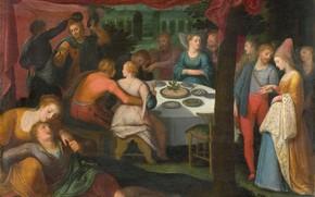 Picture oil, picture, 1613, Otto van Veen, Otto van Veen, Ужин в Лесу
