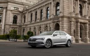 Picture the building, sedan, Skoda, Skoda, four-door, Superb, 2020, gray-silver