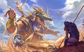 Picture sand, crocodile, God, Smite, Sobek, Egyptian God