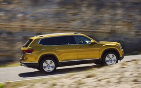 Picture road, rock, yellow, movement, Volkswagen, Atlas, 2017