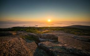 Picture sea, the sky, the sun, sunset, stones, shore