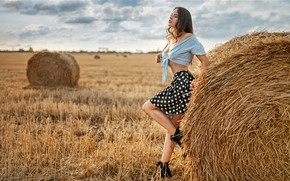Picture field, girl, nature, pose, skirt, shoes, hay, blouse, brown hair, curls, Alexey Yuriev