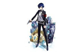 Picture gun, the game, anime, art, guy, coffins, Persona 4, Person 4