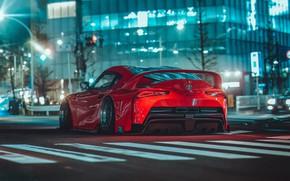 Picture Red, Auto, Night, Machine, Supra, Toyota Supra, Concept Art, Science Fiction, Khyzyl Saleem, by Khyzyl …
