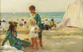 Picture sea, stay, picture, tent, On the beach in Deauville, Paul Michel Dupuy, Paul Michel Dupuy